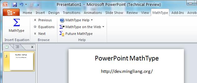 Office 2010 MathType Toolbar