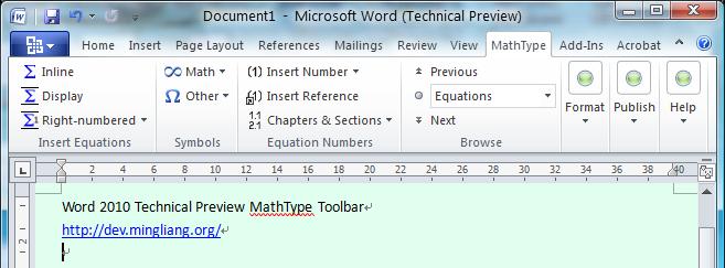 Word 2010 MathType Toolbar