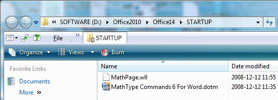 Word 2010 MathType Setting
